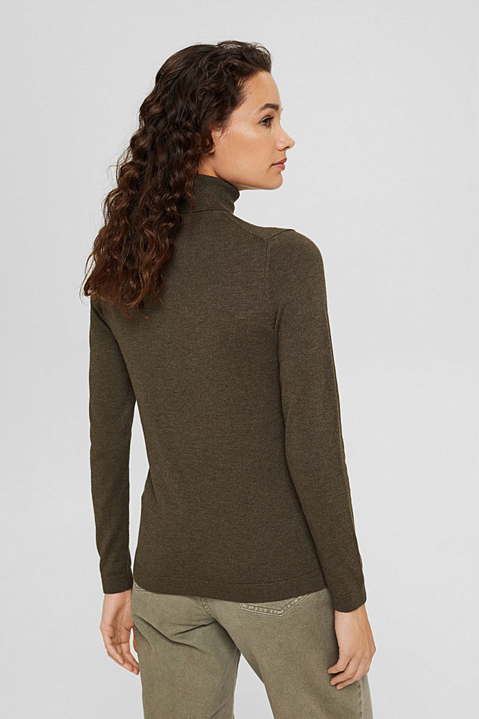 Polo neck jumper with organic cotton, DARK KHAKI, detail image number 3