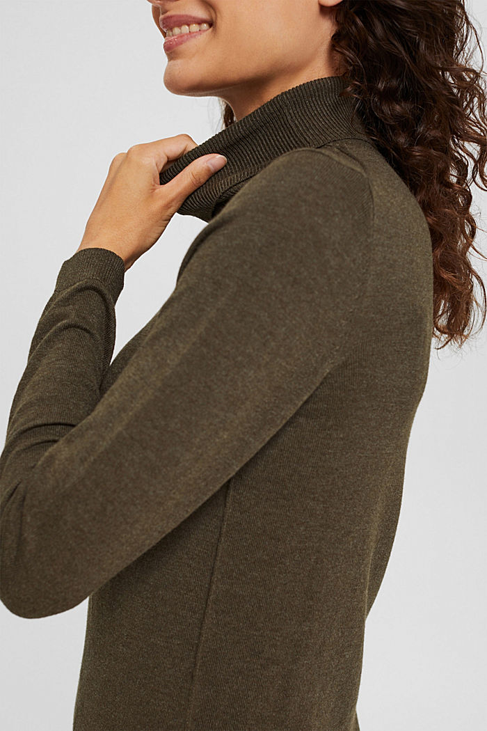 Polo neck jumper with organic cotton, DARK KHAKI, detail image number 2