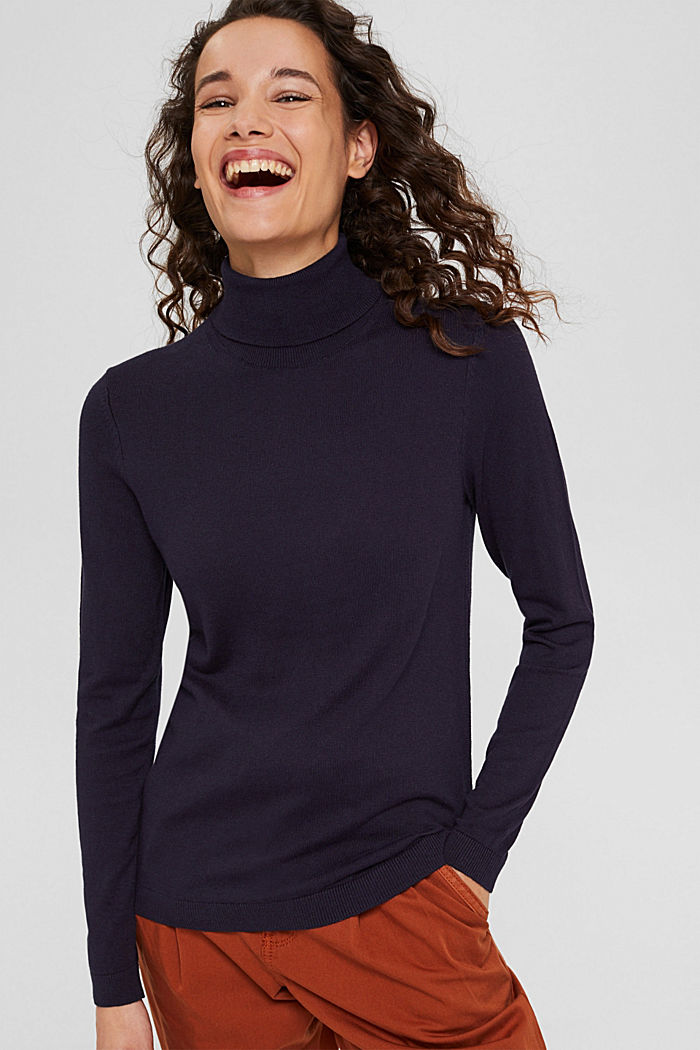 Pullover a dolcevita con cotone biologico, NAVY, detail image number 0