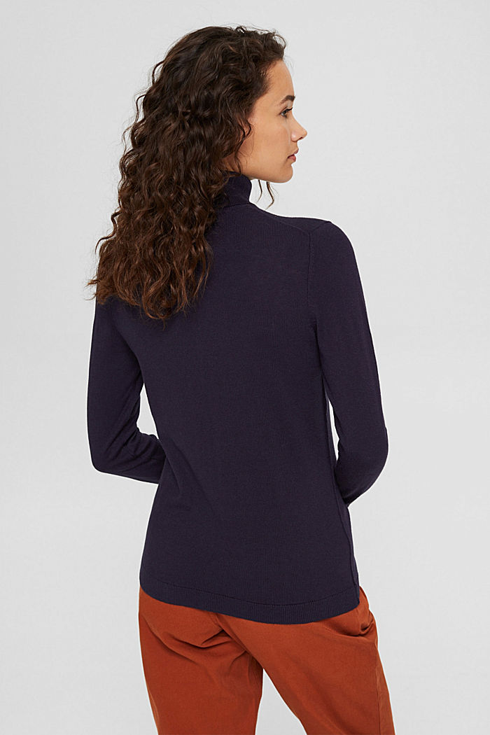 Pullover a dolcevita con cotone biologico, NAVY, detail image number 3