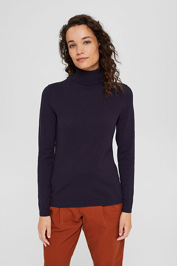 Pullover a dolcevita con cotone biologico, NAVY, detail image number 5