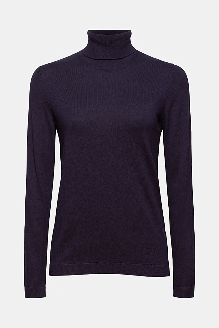 Pullover a dolcevita con cotone biologico, NAVY, detail image number 6