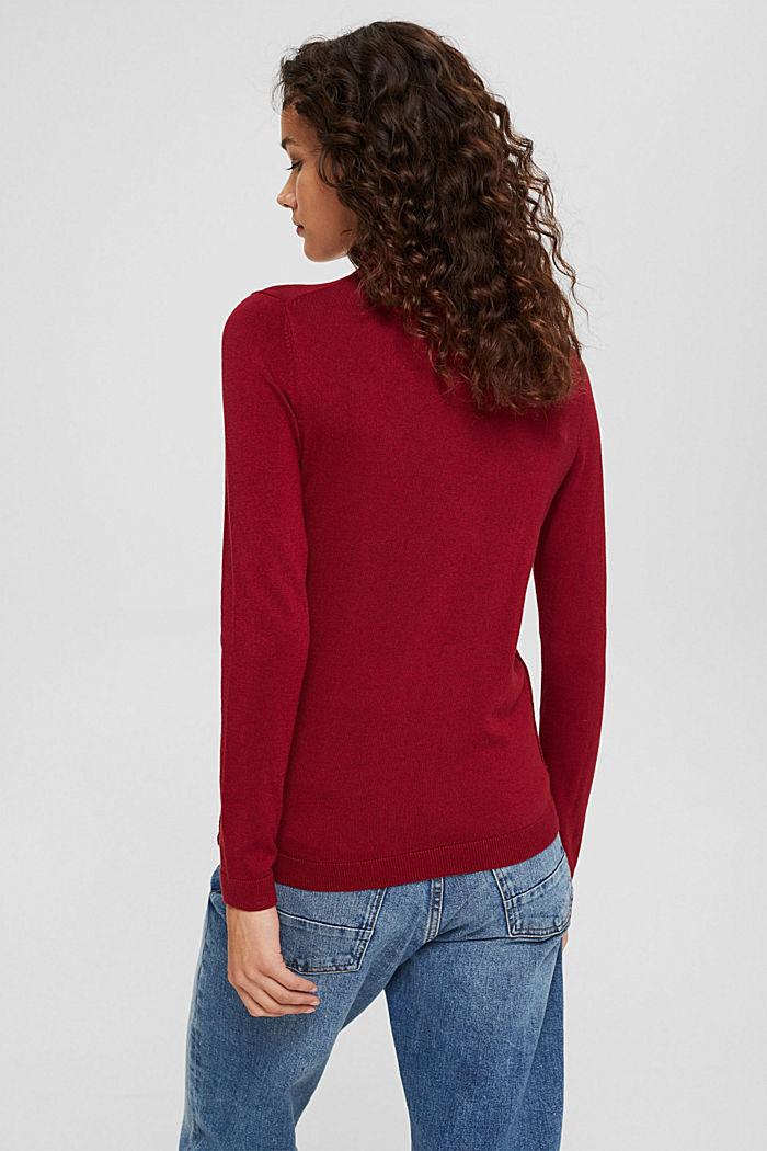 Jersey de cuello vuelto con algodón ecológico, DARK RED, detail image number 3