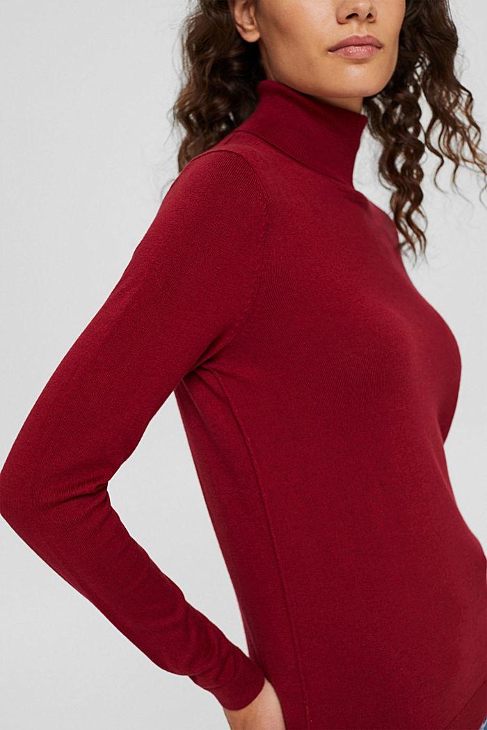 Jersey de cuello vuelto con algodón ecológico, DARK RED, detail image number 2