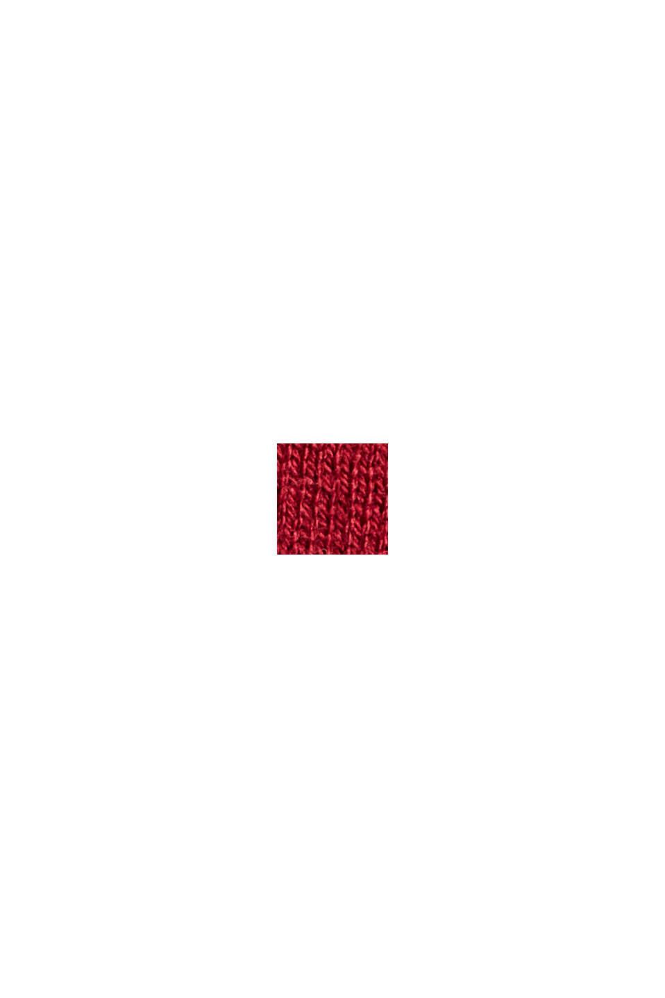 Rullekravebluse med økologisk bomuld, DARK RED, swatch
