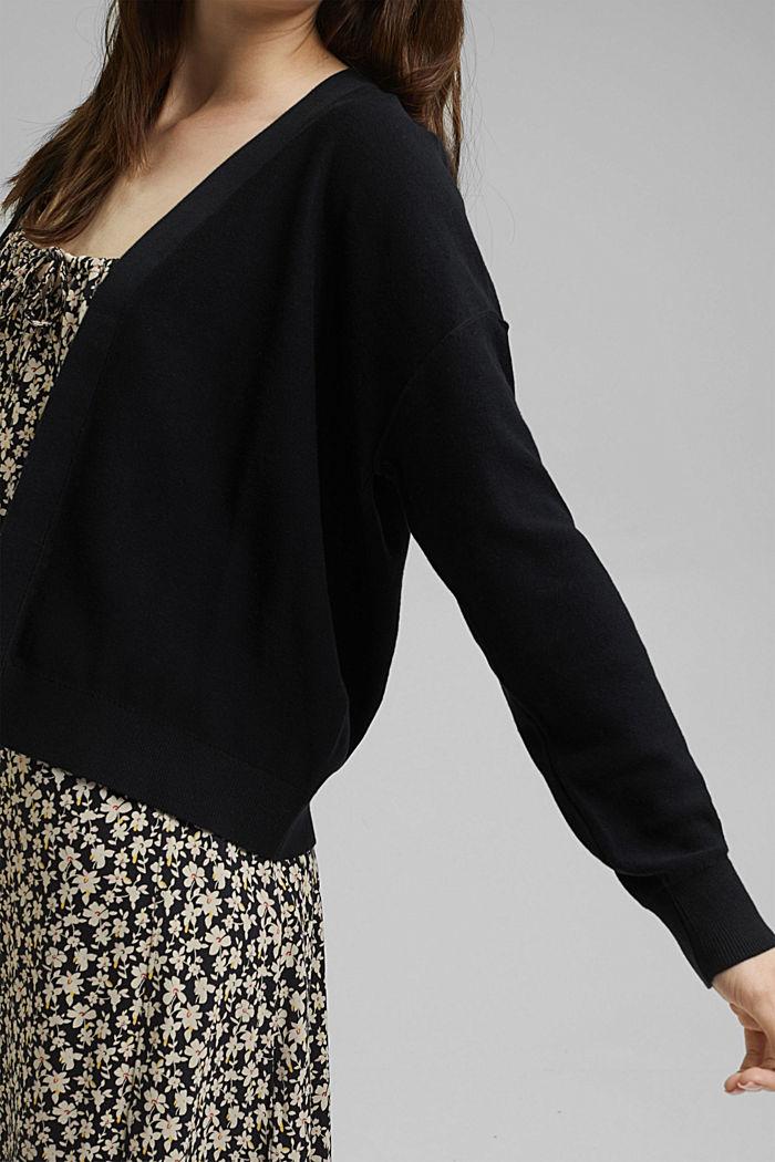 Cardigan aperto in 100% cotone biologico, BLACK, detail image number 2