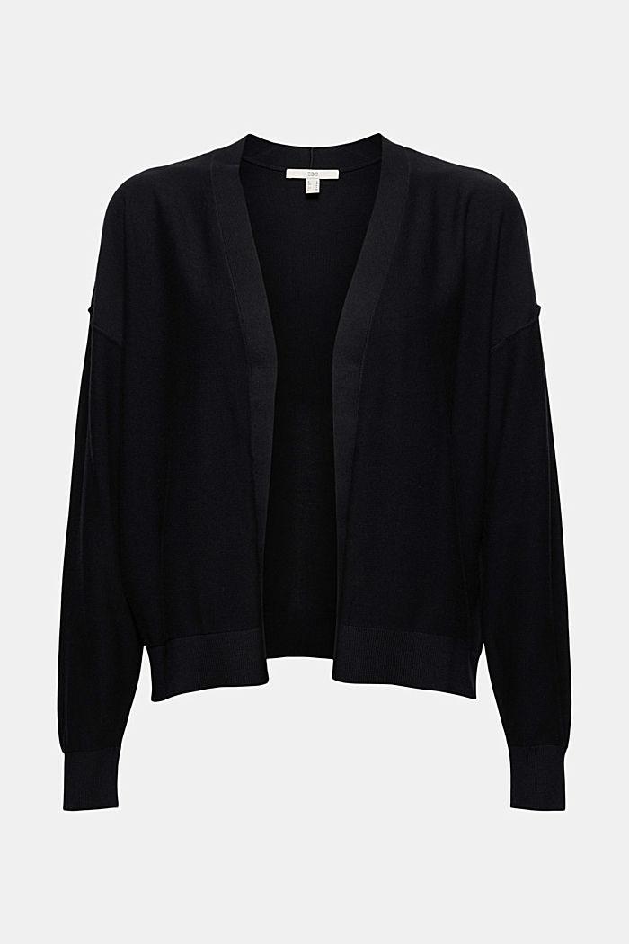 Cardigan aperto in 100% cotone biologico, BLACK, detail image number 5