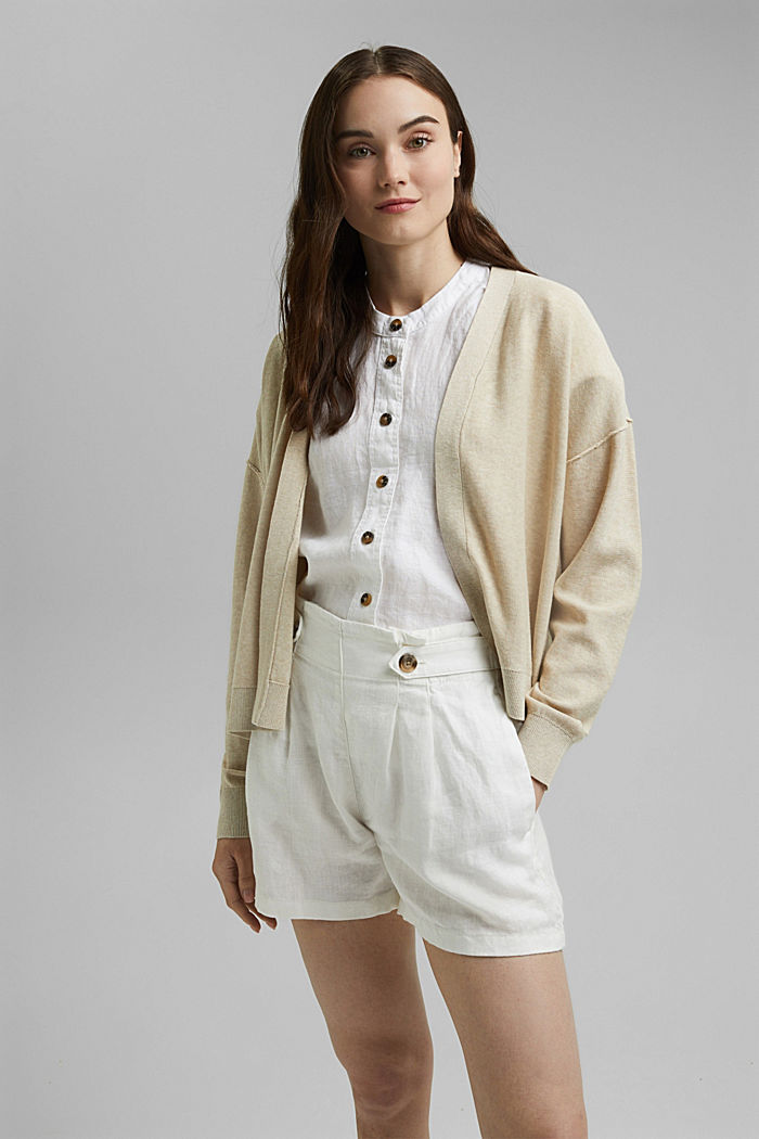 Open cardigan made of 100% organic cotton, BEIGE, detail image number 0
