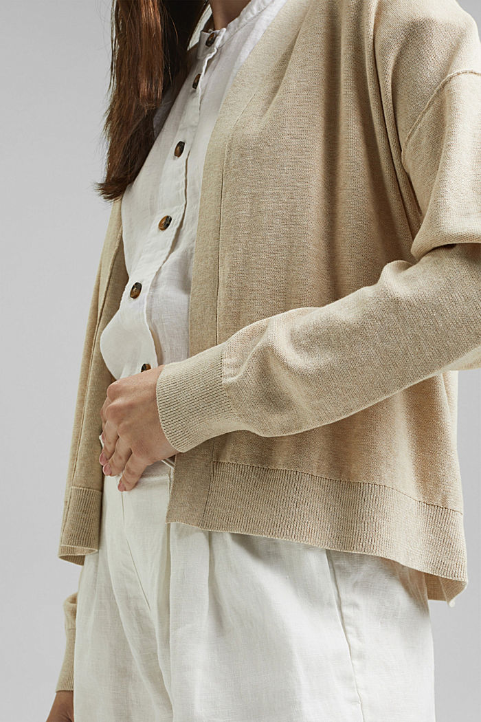 Open cardigan made of 100% organic cotton, BEIGE, detail image number 2