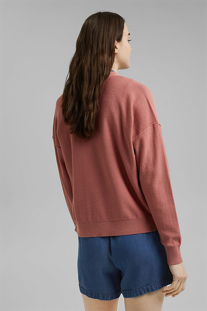 Cardigan aperto in 100% cotone biologico, CORAL, detail image number 3