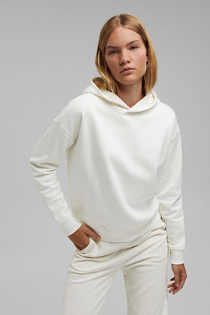 Hoodie made of organic blended cotton, OFF WHITE, detail image number 0