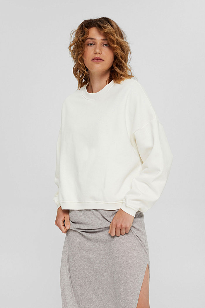 Cropped sweatshirt with organic cotton, OFF WHITE, detail image number 0