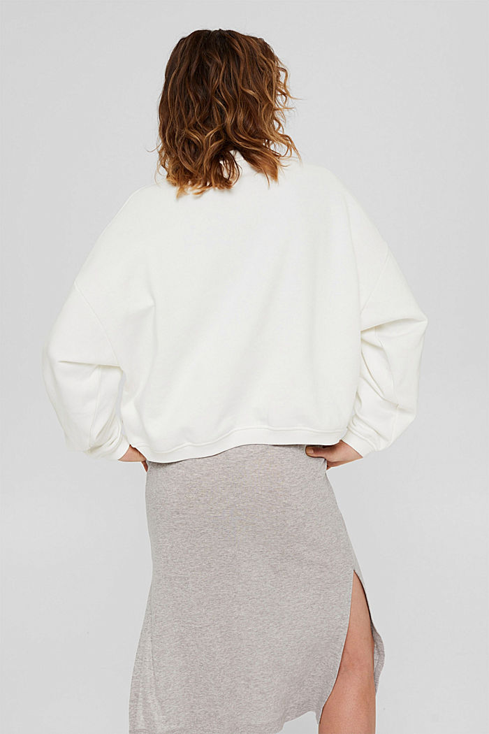 Cropped sweatshirt with organic cotton, OFF WHITE, detail image number 3