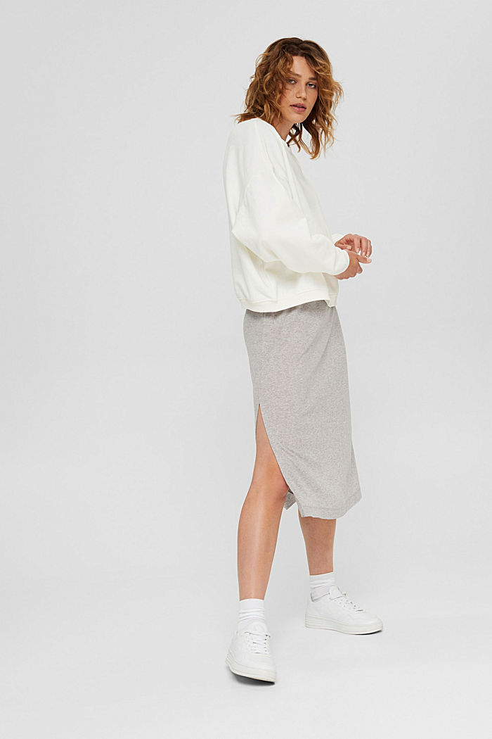Cropped sweatshirt with organic cotton, OFF WHITE, detail image number 1