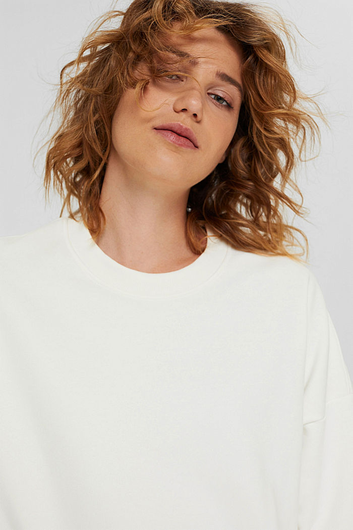 Cropped sweatshirt with organic cotton, OFF WHITE, detail image number 5