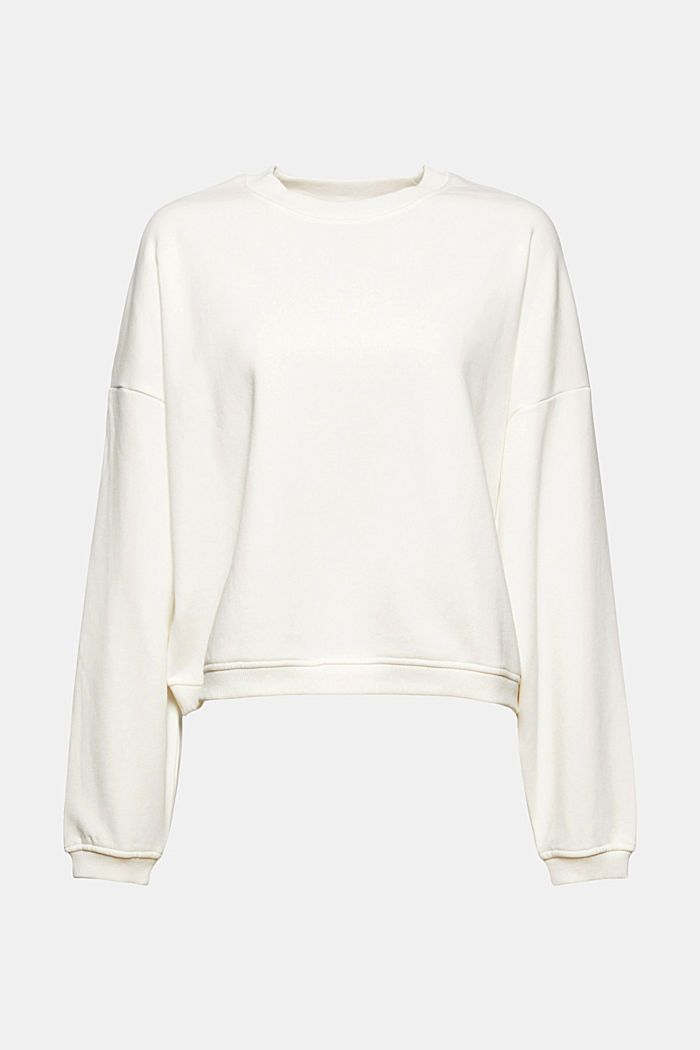 Cropped sweatshirt with organic cotton, OFF WHITE, detail image number 6
