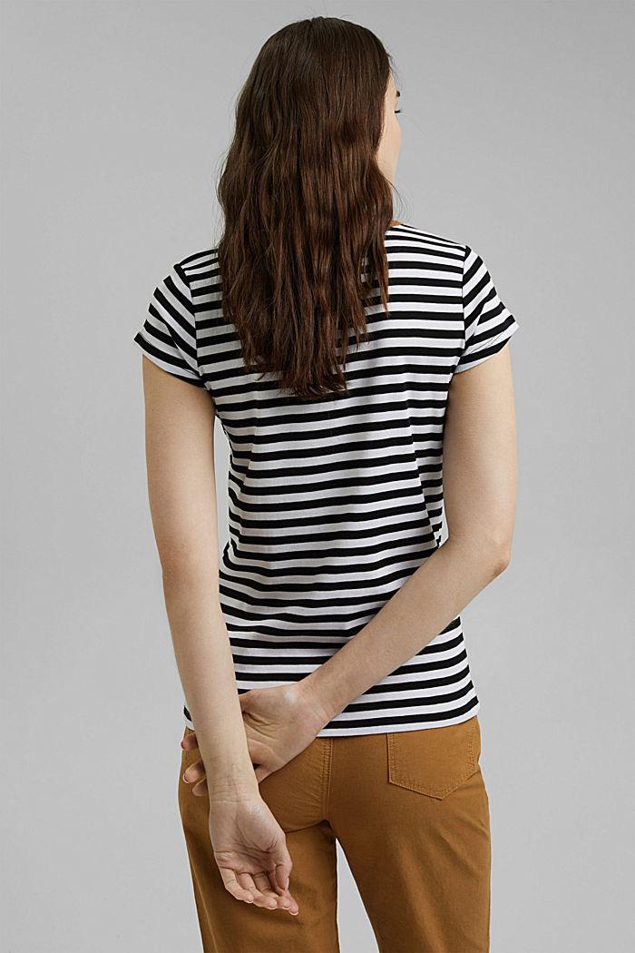 T-shirt met strepen, 100% biologisch katoen, BLACK, detail image number 3