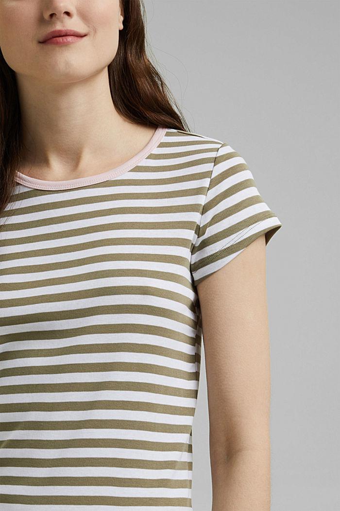 T-Shirt mit Streifen, 100% Organic Cotton, LIGHT KHAKI, detail image number 2