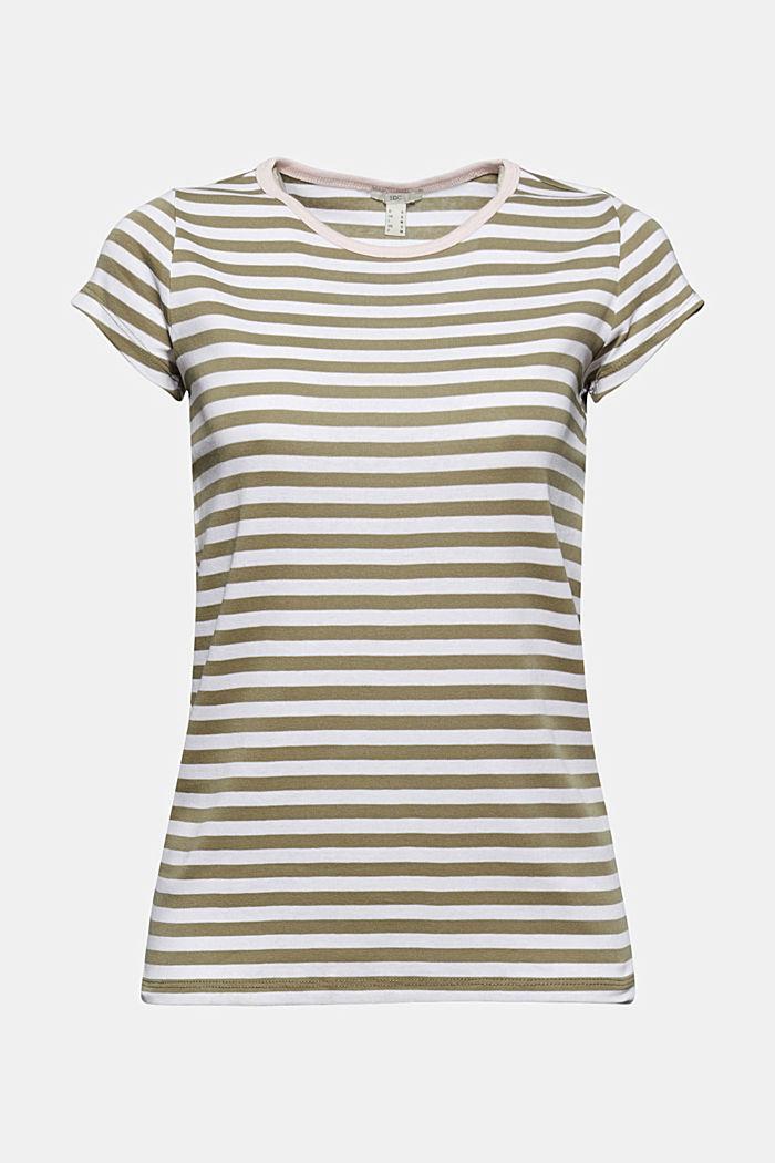 T-Shirt mit Streifen, 100% Organic Cotton, LIGHT KHAKI, detail image number 7