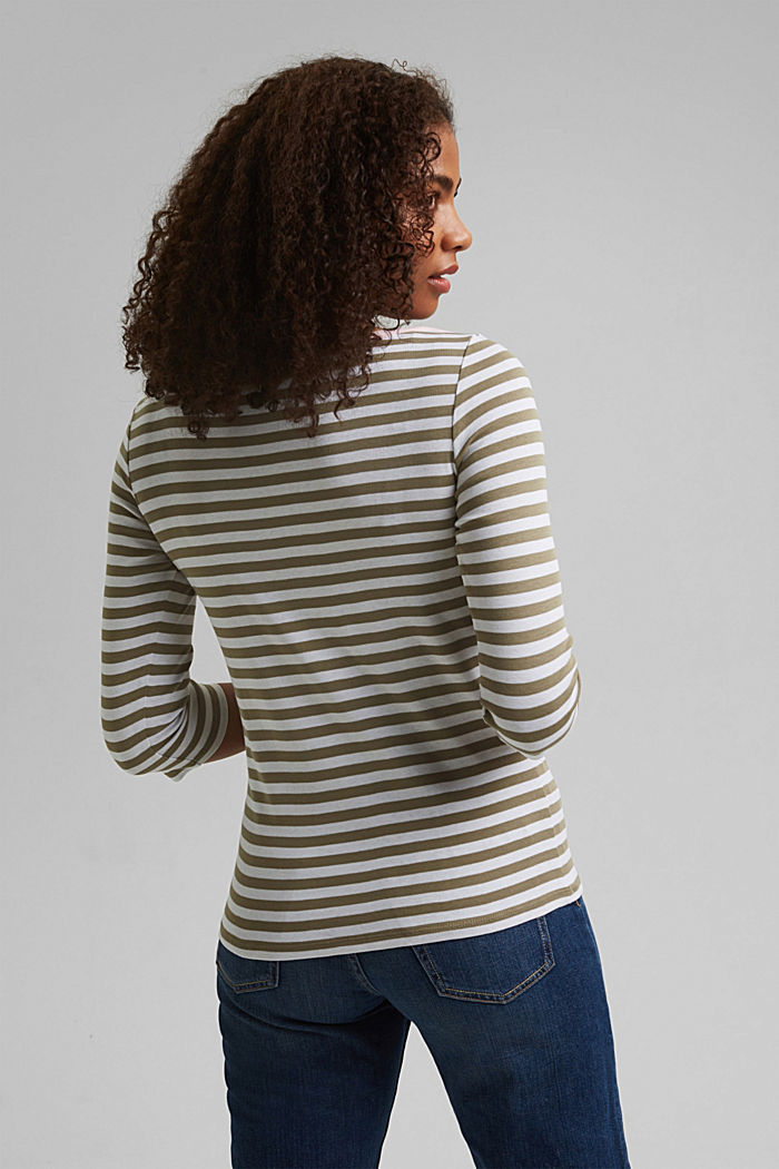 Long sleeve top with a bateau neckline, LIGHT KHAKI, detail image number 3