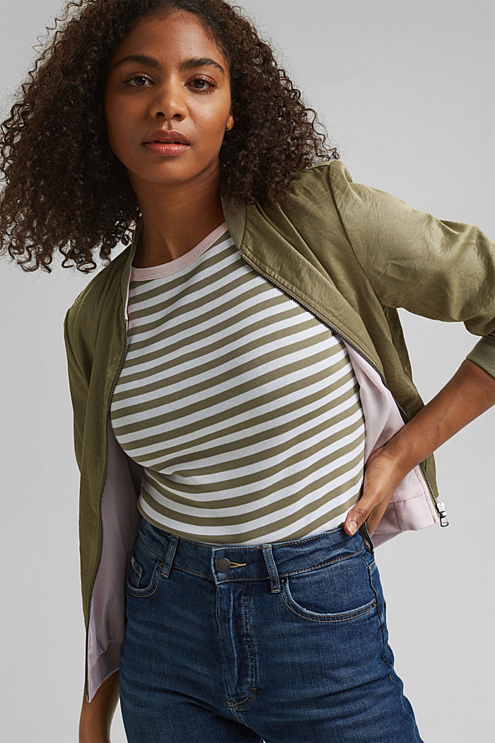 Long sleeve top with a bateau neckline, LIGHT KHAKI, detail image number 5
