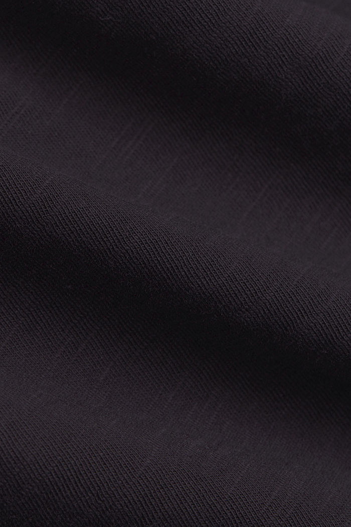 Maglia con scollo a V in 100% cotone biologico, BLACK, detail image number 4