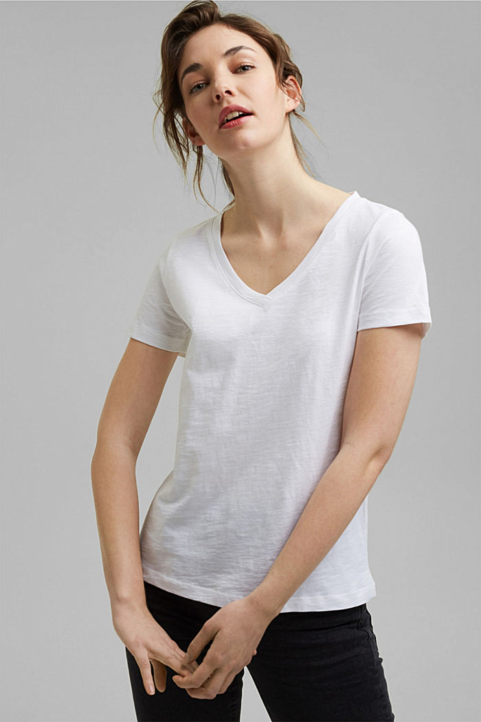 V-neck T-shirt in 100% organic cotton, WHITE, detail image number 0