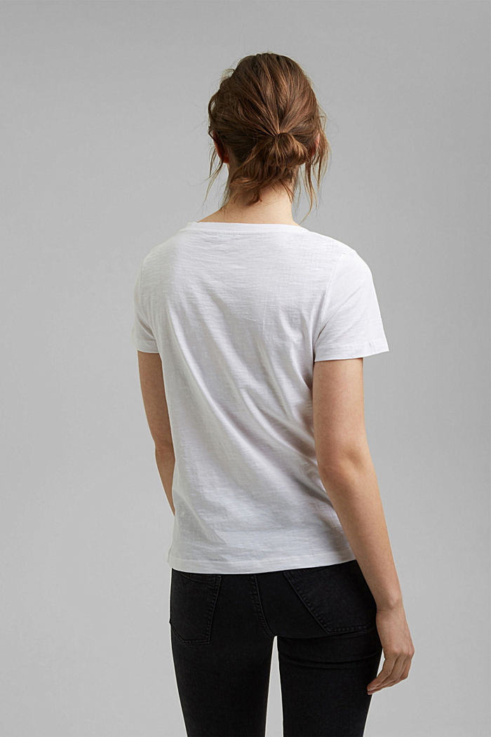 V-neck T-shirt in 100% organic cotton, WHITE, detail image number 3
