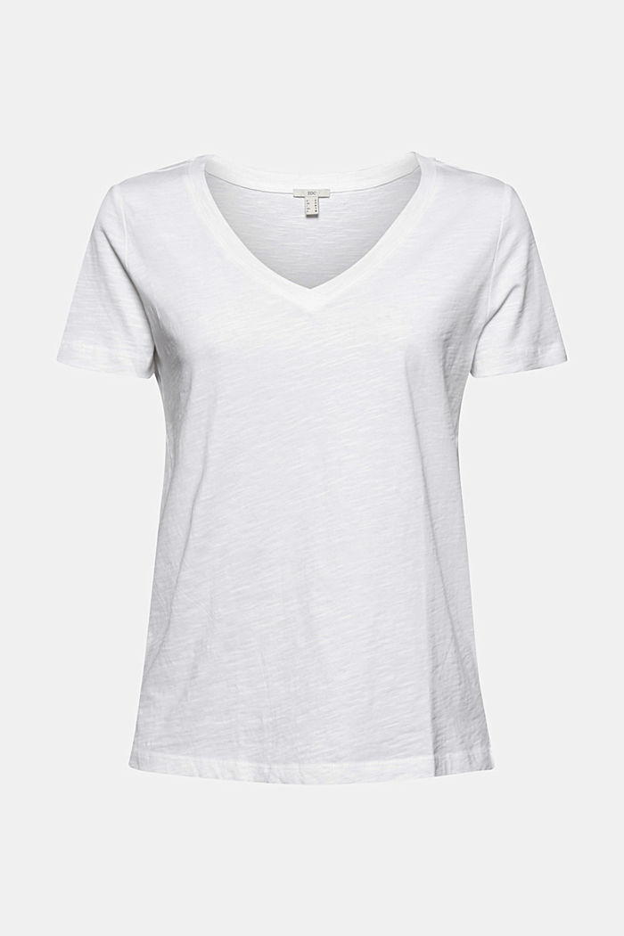 V-neck T-shirt in 100% organic cotton, WHITE, detail image number 5