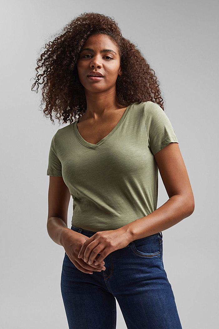 Shirt met V-hals, van 100% biologisch katoen