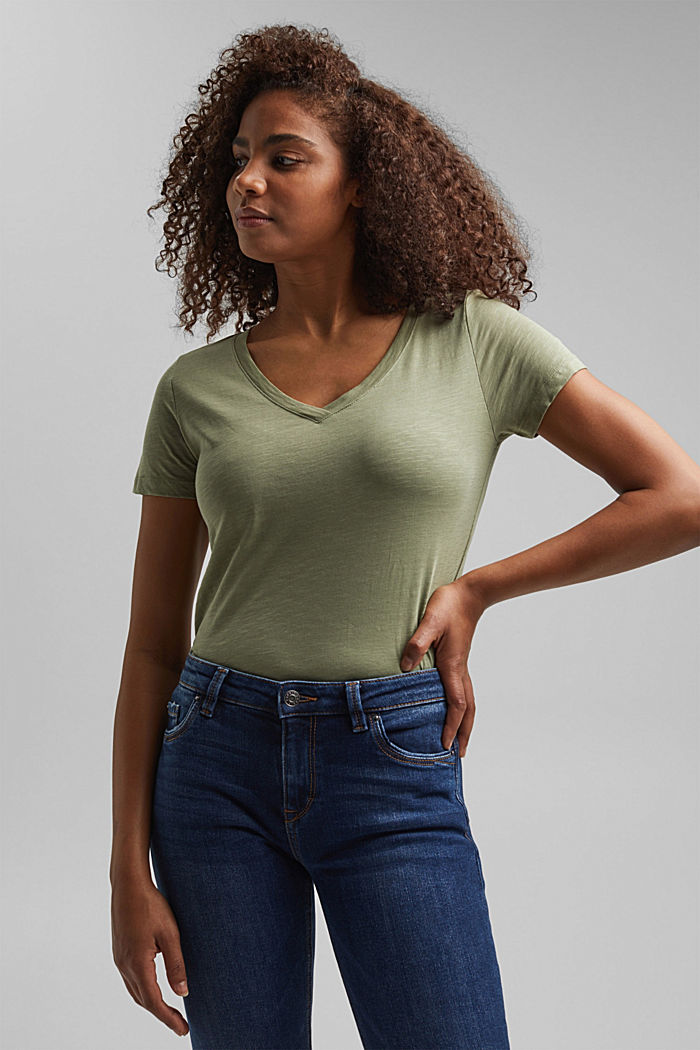 V-neck T-shirt in 100% organic cotton, LIGHT KHAKI, detail image number 4