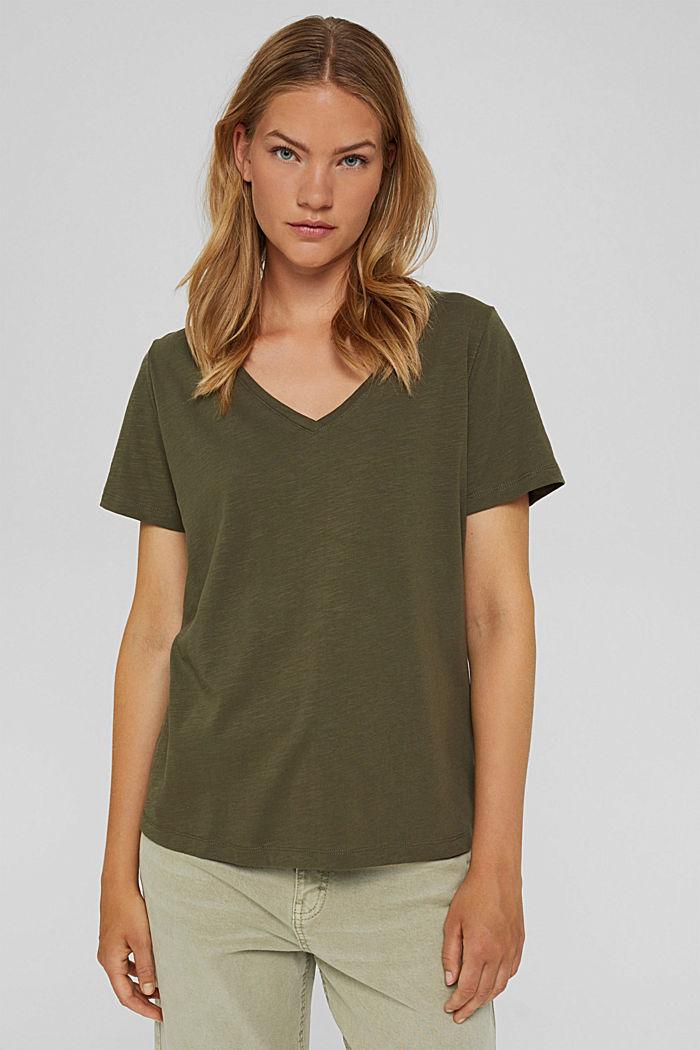 V-Neck-Shirt aus 100% Bio-Baumwolle, DARK KHAKI, detail image number 0