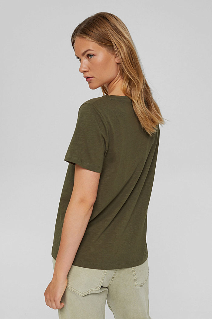 V-Neck-Shirt aus 100% Bio-Baumwolle, DARK KHAKI, detail image number 3