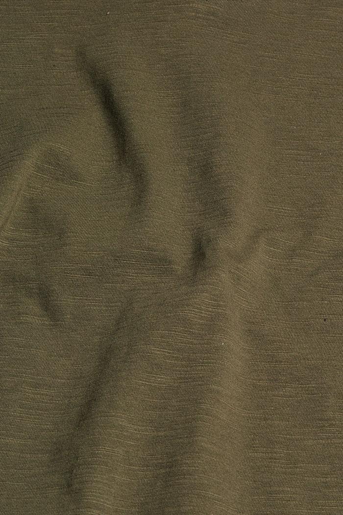 V-Neck-Shirt aus 100% Bio-Baumwolle, DARK KHAKI, detail image number 4