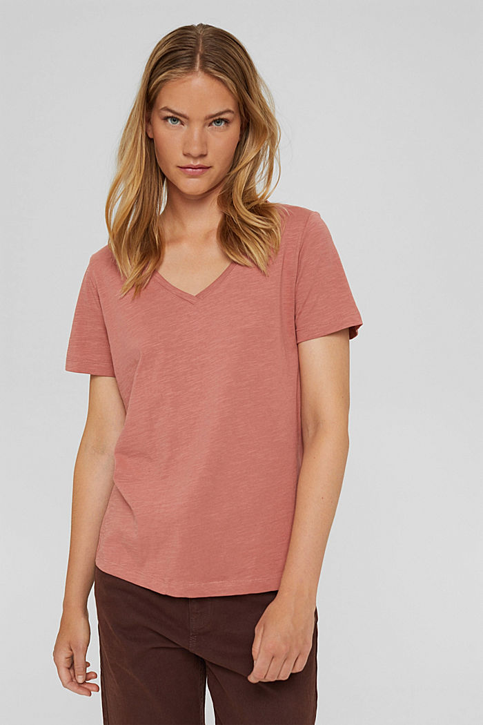 V-neck T-shirt in 100% organic cotton, CORAL, detail image number 0