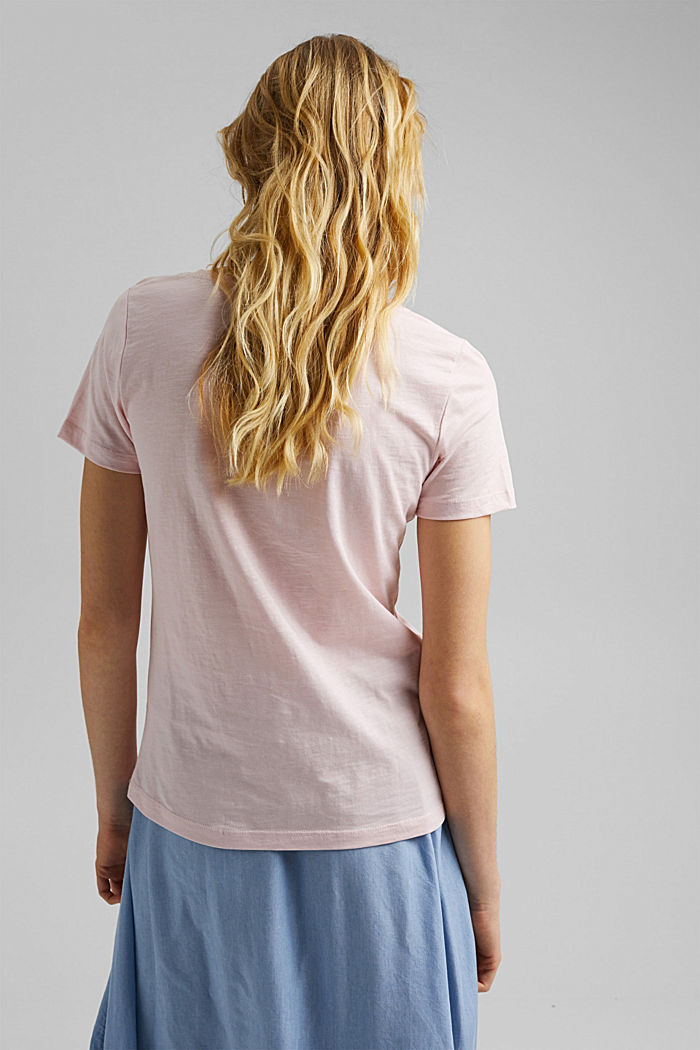 V-neck T-shirt in 100% organic cotton, LIGHT PINK, detail image number 3