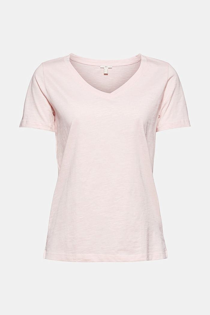 V-neck T-shirt in 100% organic cotton, LIGHT PINK, detail image number 7