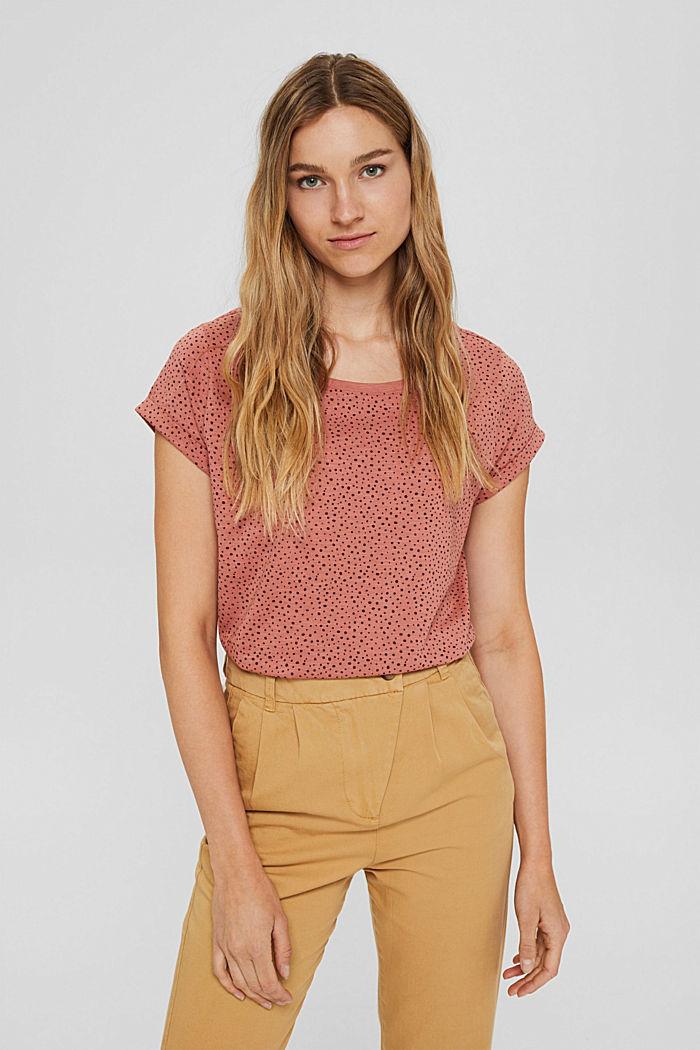 T-Shirt mit Print aus 100% Organic Cotton, CORAL, detail image number 0