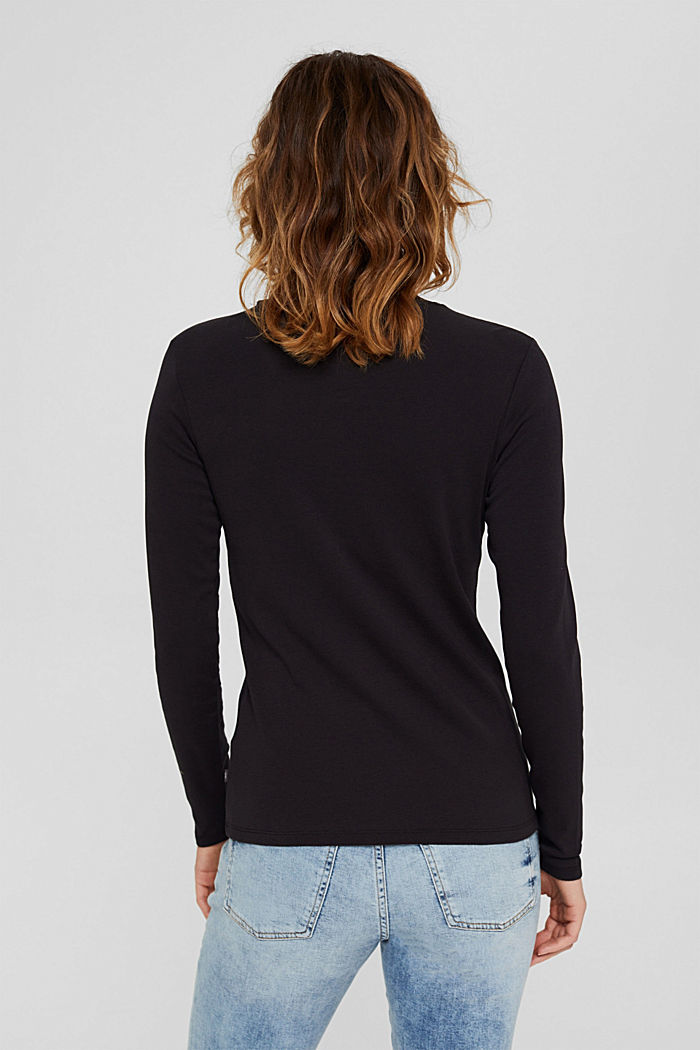 Bluzka z długim rękawem i stójką ze 100% bawełny ekologicznej, BLACK, detail image number 3