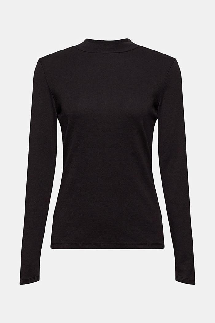 Bluzka z długim rękawem i stójką ze 100% bawełny ekologicznej, BLACK, detail image number 5