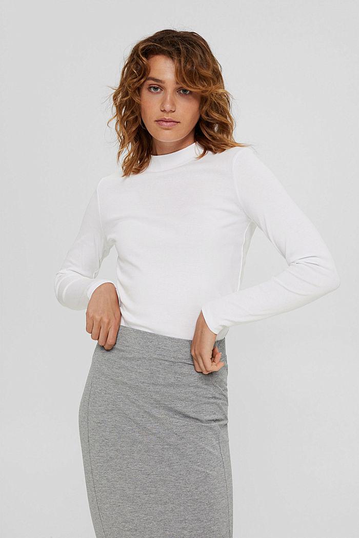 T-shirt à manches longues et col droit en 100% coton biologique, WHITE, detail image number 0