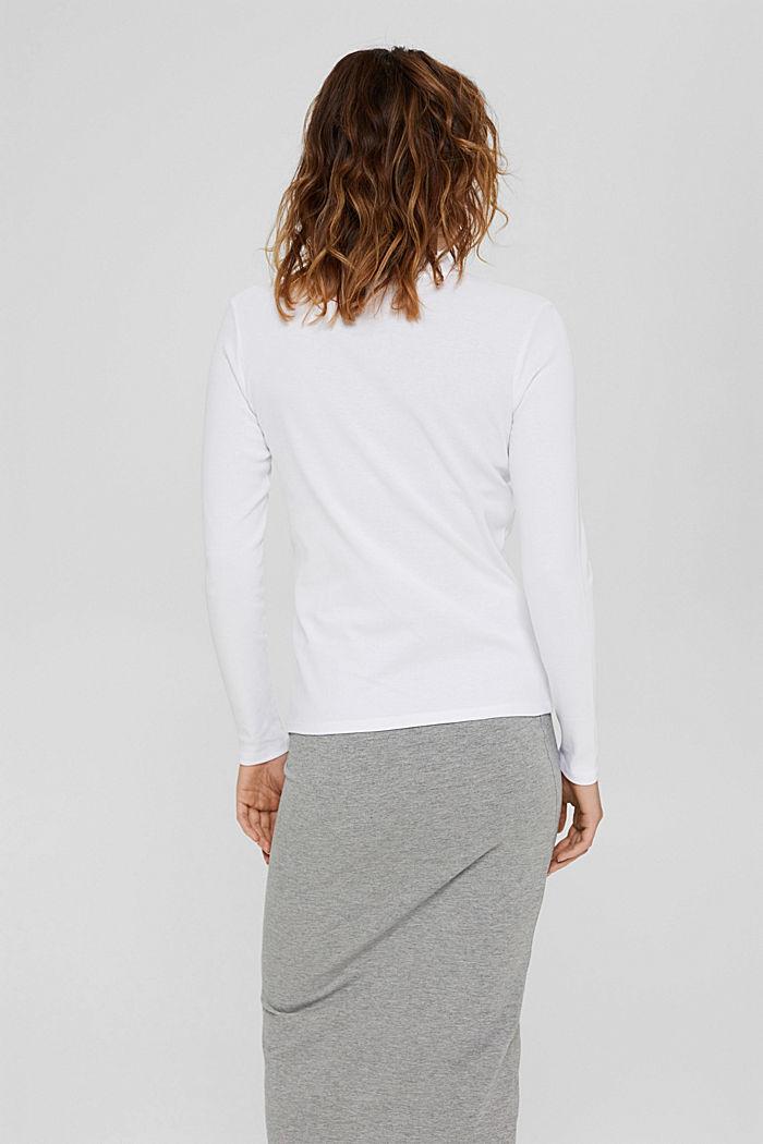T-shirt à manches longues et col droit en 100% coton biologique, WHITE, detail image number 3