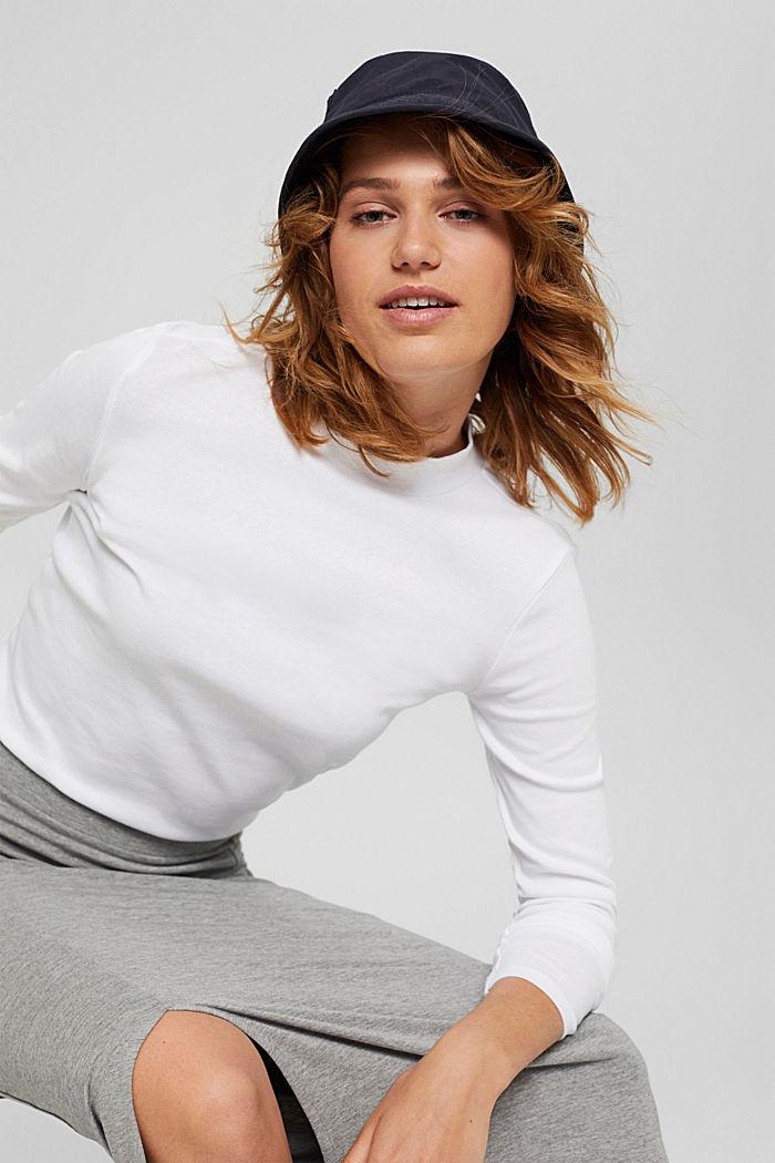 T-shirt à manches longues et col droit en 100% coton biologique, WHITE, detail image number 5