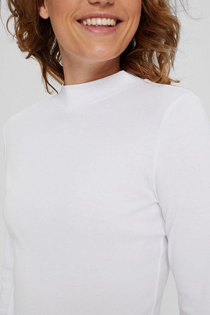 T-shirt à manches longues et col droit en 100% coton biologique, WHITE, detail image number 2