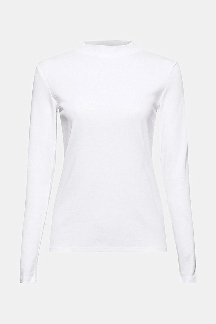 T-shirt à manches longues et col droit en 100% coton biologique, WHITE, detail image number 6
