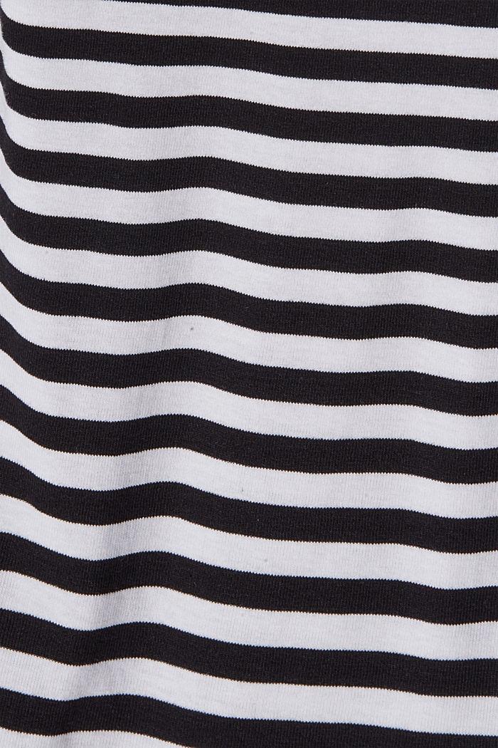 Koszulka ze stójką, w paski, 100% bawełny ekologicznej, BLACK, detail image number 4