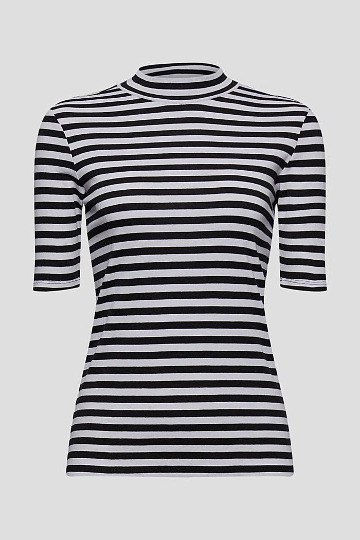 Koszulka ze stójką, w paski, 100% bawełny ekologicznej, BLACK, detail image number 5