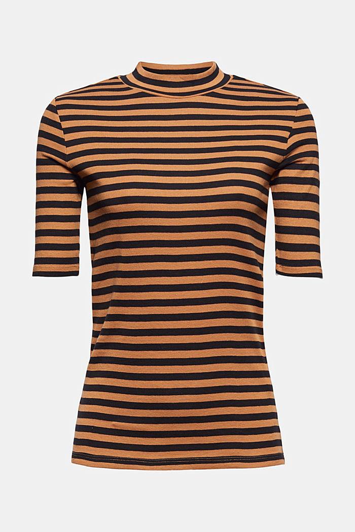 Streifen Stehkragen-Shirt, 100% Bio-Baumwolle