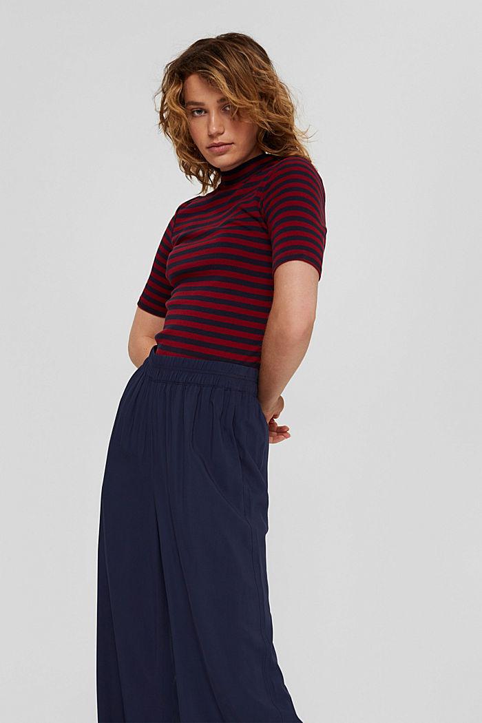 Streifen Stehkragen-Shirt, 100% Bio-Baumwolle, NAVY, detail image number 0