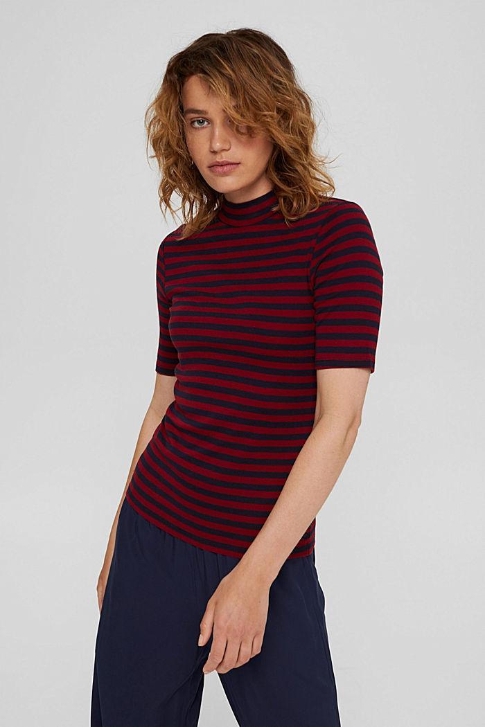 Streifen Stehkragen-Shirt, 100% Bio-Baumwolle, NAVY, detail image number 5